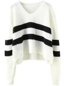 V Neck Striped White Sweater