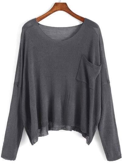 Scoop Neck Pocket Dark Grey Sweater