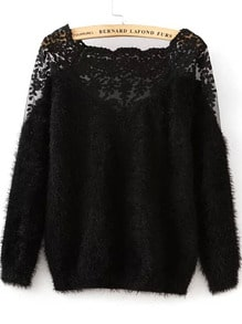 Lace Paneled Mohair Sweater