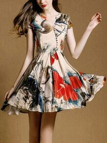 V Neck Coctel Short Sleeve Petals Flowery Florals Pleated Shirtwaist Dress