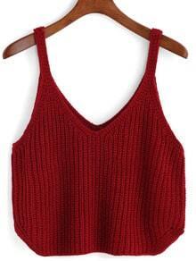 V Neck Knit Red Cami Top
