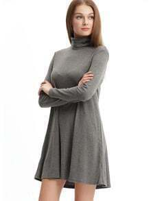 Grey Pullover Marl High Neck Jumpers Casual Dress