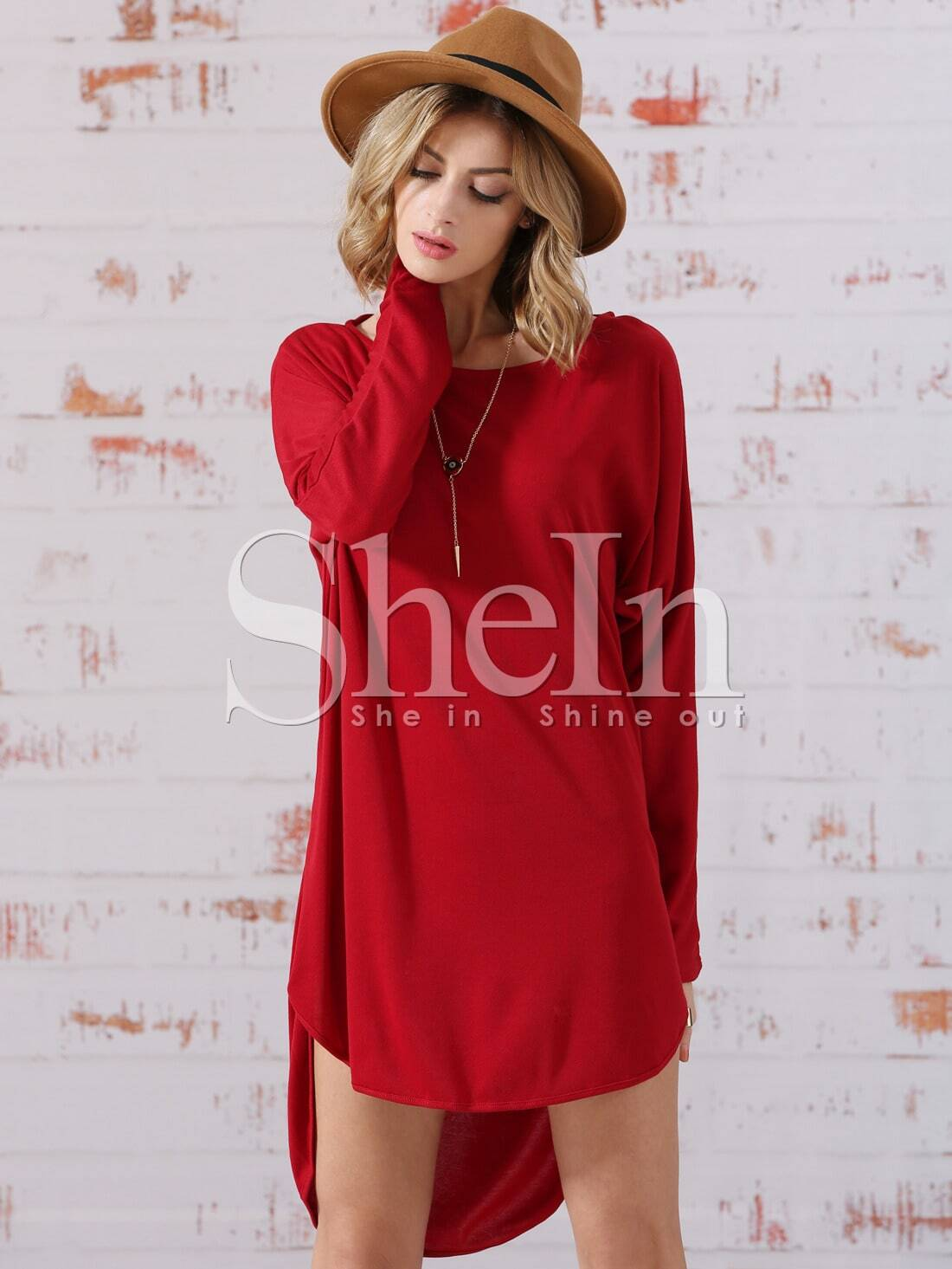 Red Dolman Round Neck Bat Sleeve High Low Dress