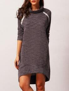 Blue Long Sleeve High Neck Dress