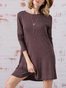 Grey Long Sleeve Jumpers Babydoll Casual Dress