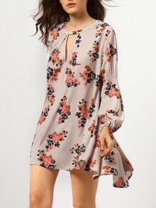 Grey Long Sleeve Floral Dress