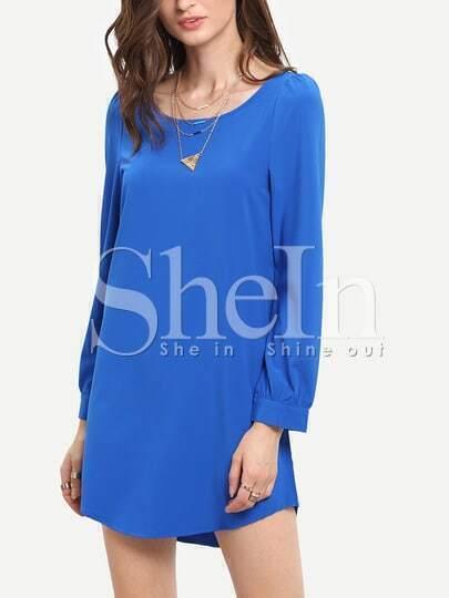 Blue Colbalt Long Sleeve Casual Dress
