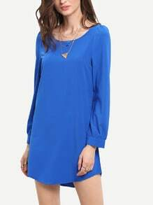 Blue Colbalt Long Sleeve Casual Dress