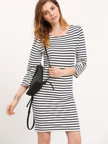 White Navy Tees Round Neck Striped Dress