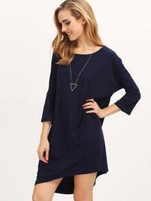 Navy Round Neck Casual Dress