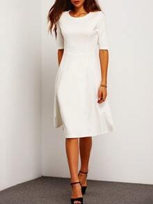 White Half Sleeve Flare Dress