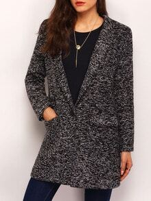 Black Long Sleeve Lapel Pockets Coat