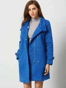 Blue Long Sleeve Lapel Zipper Coat
