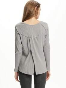 Grey V Neck Split Back T-Shirt