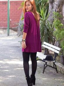 Wine Red Round Neck Casual Dress