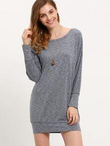 Grey Marl Slate Round Neck Jumpers Casual Dress