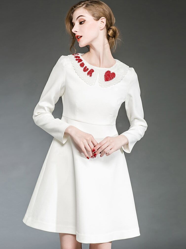 White Round Neck Long Sleeve Beading Dress