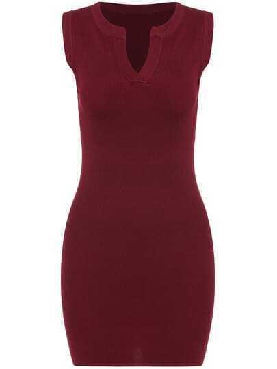 Red Bodyform Knittet V Neck Sleeveless Slim Bodycon Sweather Dress