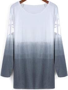 Grey Ombre Round Neck Hollow Loose Dress
