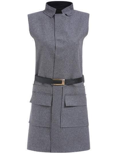 Grey Stand Collar Sleeveless Pockets Dress