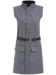 Grey Stand Collar Sleeveless Pockets Dress