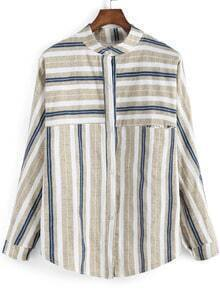 Apricot Blue Stand Collar Vertical Stripe Blouse