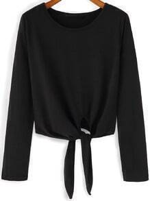 Black Round Neck Knotted Crop Blouse