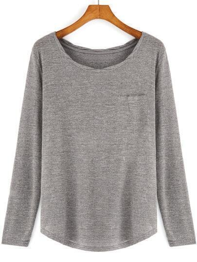 Grey Round Neck Long Sleeve Casual T-Shirt