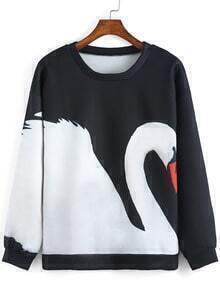 Black White Round Neck Goose Print Sweatshirt