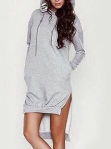 Grey Hooded Long Sleeve Dip Hem Sweatshirt
