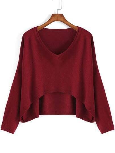 Wine Red V Neck Dip Hem Crop Sweater