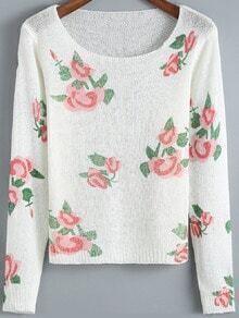 White Round Neck Floral Crop Knitwear