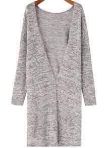 Grey Deep V Neck Knit Casual Cardigan