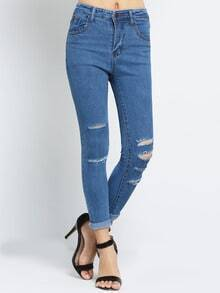 Blue Slim Cut-out Denim Pant