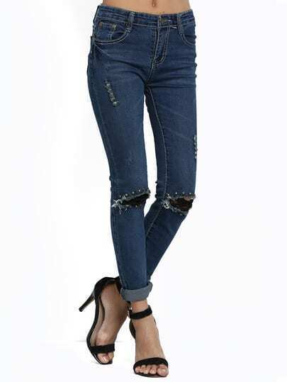 Blue Rivet Lace Denim Pant