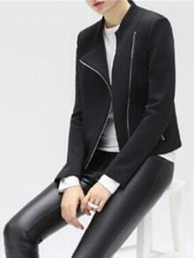 Black Stand Collar Oblique Zipper Crop Coat
