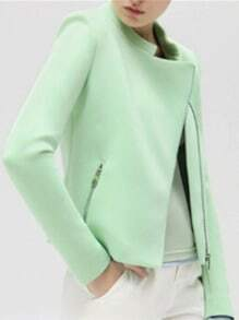 Green Stand Collar Oblique Zipper Crop Coat