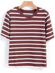 Round Neck Striped Coffee T-shirt