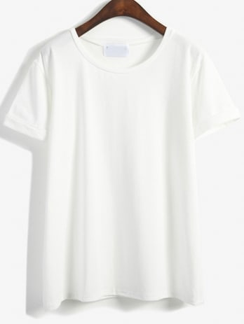 Cuffed Loose White T-shirtCuffed Loose White T-shirt<br><br>color: White<br>size: one-size