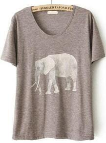 Elephant Print Loose Grey T-Shirt