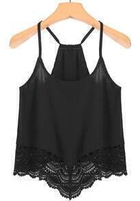 Spaghetti Strap Lace Black Cami Top