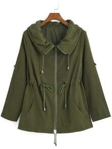 Lapel With Zipper Green Coat