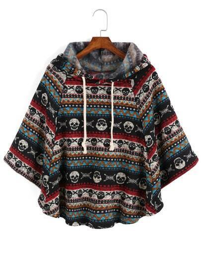 Hooded Drawstring Skull Cool Print Cape Coat