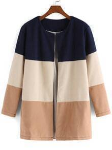 Color-block Round Neck Woolen Coat