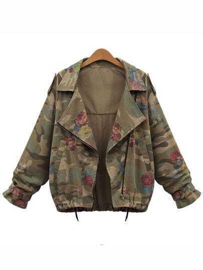 Lapel Camouflage Drawstring Coat