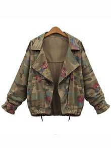 Lapel Camouflage Drawstring Coat