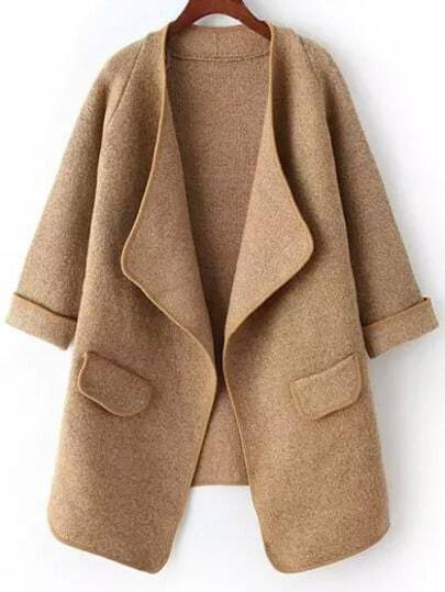 Drape Front Pockets Khaki Coat