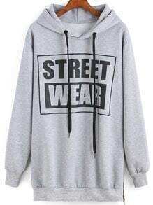 Hooded Drawstring Letter Print Sweatshirt