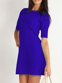 Half Sleeve A-Line Blue Dress
