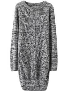 Cable Knit Long Pale Grey Fairisle Sweater